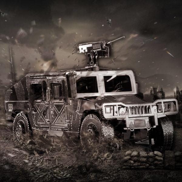 3d пазл из металла. Конструктор для взрослых. Военный грузовик с орудием.