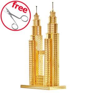 Небоскрёб Petronas Tower 3d пазл из металла. Конструктор для взрослых.