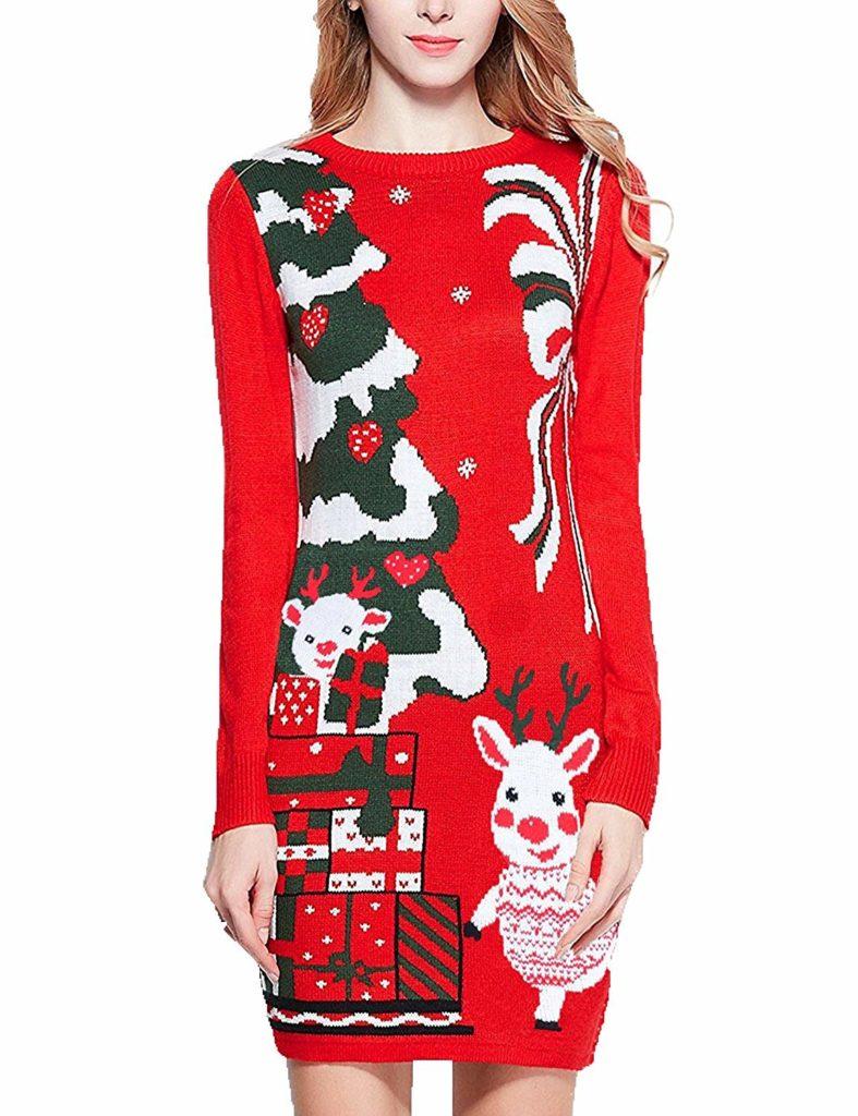 рождественская длинная женская кофта