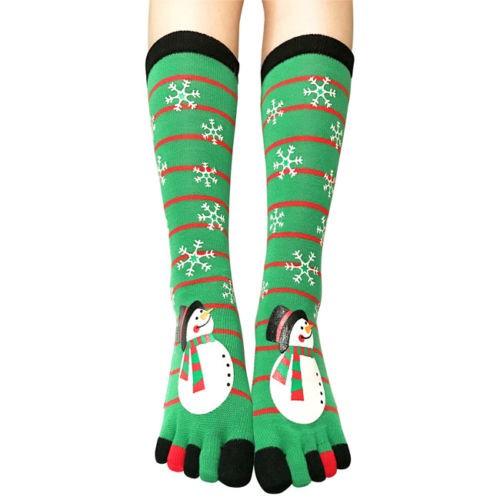 Рождественские Женские  Теплые Носки с пятью пальцами