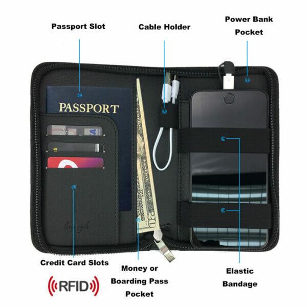 Бумажник для Паспорта Кошелек с зарядкой