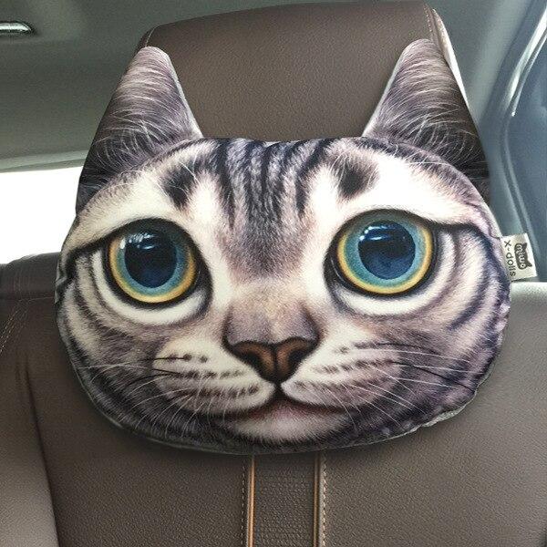 Подушка для шеи в автомобиль с принтом Кота, Собаки, Волка